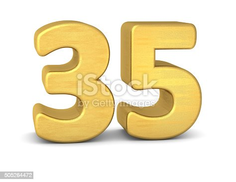 istock 3d number 35 gold 505264472