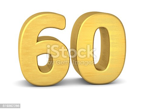 istock 3d number 60 gold 519362286