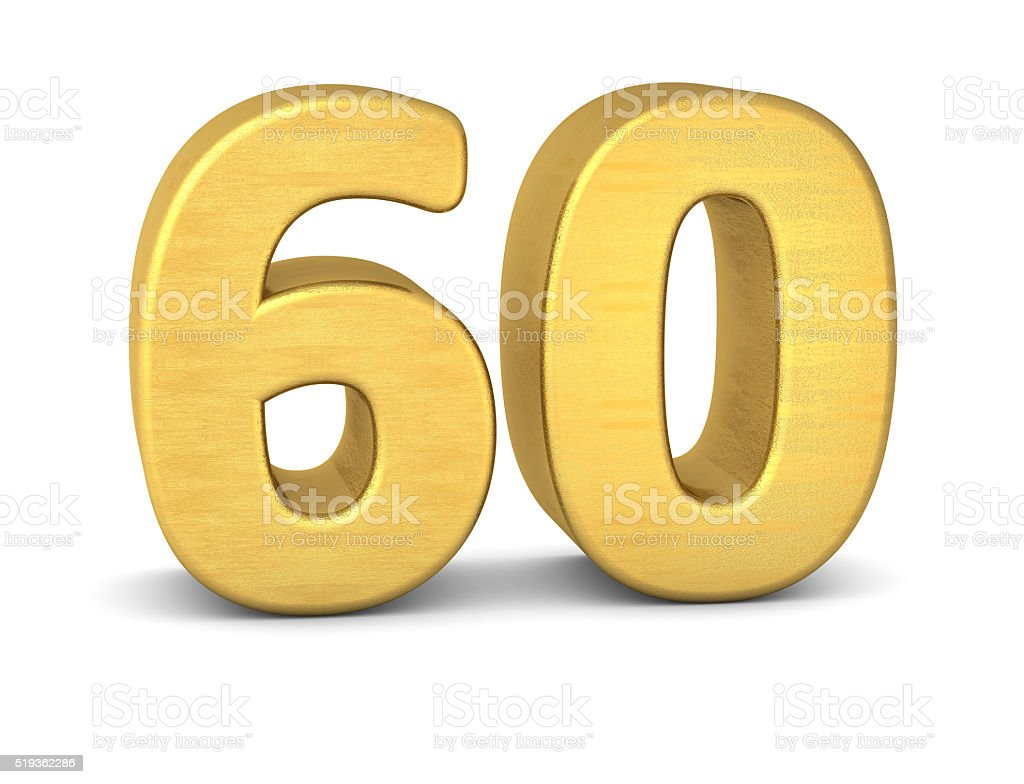 3d number 60 gold stock photo