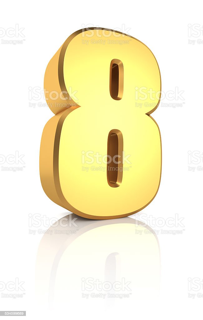 3d Number 8 stock photo