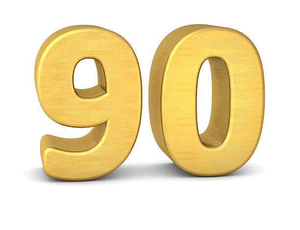 3d number 90 gold - number 90 stock photos and pictures