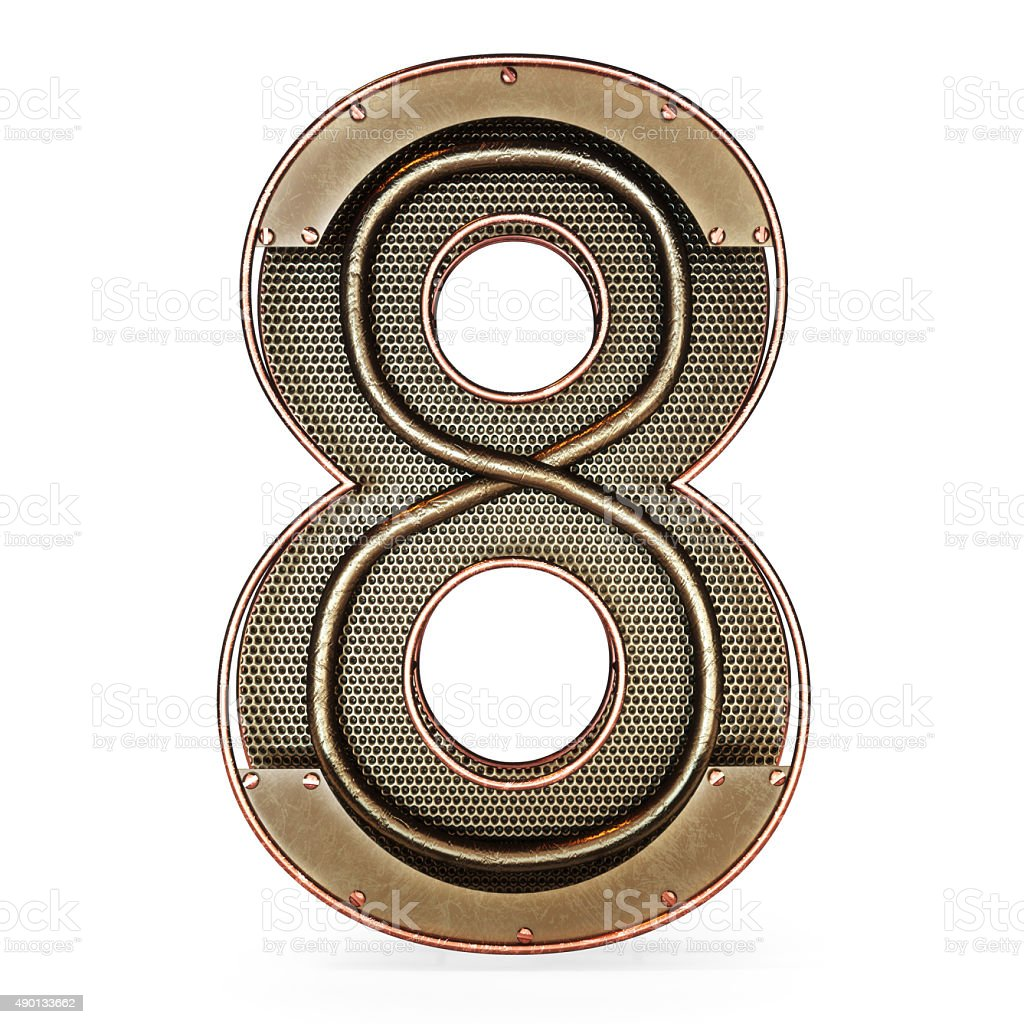 3d number eight 8 symbol with rustic gold metal stock photo