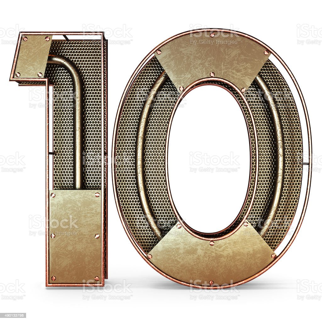 3d number ten 10 symbol with rustic gold metal stock photo