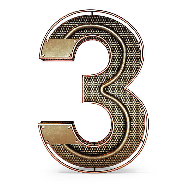 3d number three 3 symbol with rustic gold metal stock photo