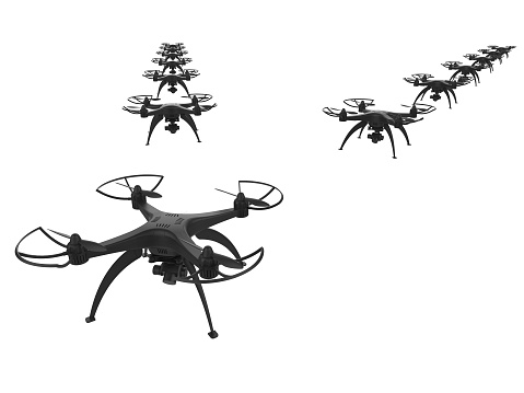 istock 3d of a wedge of drones on a white background 919589668