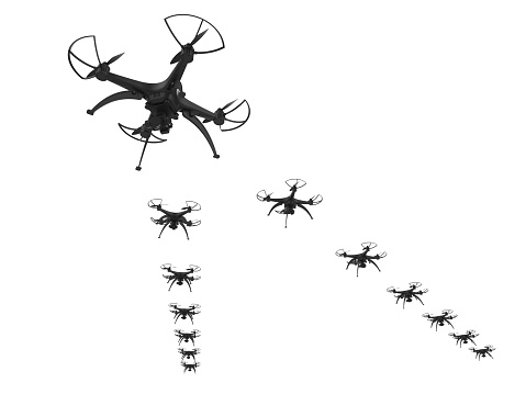 istock 3d of a wedge of drones on a white background 919590718