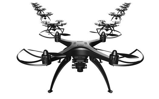istock 3d of a wedge of drones on a white background 919591754