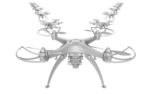 istock 3d of a wedge of drones on a white background 919591776