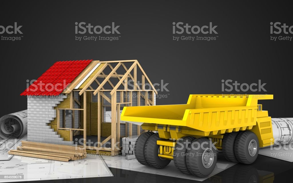 3d of frame house stock photo