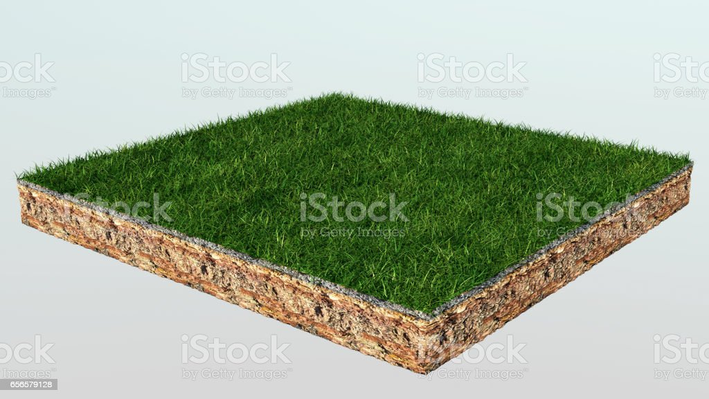 3d of isometric cross section of ground with grass stock photo