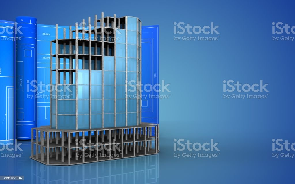 3d of modern building frame stock photo