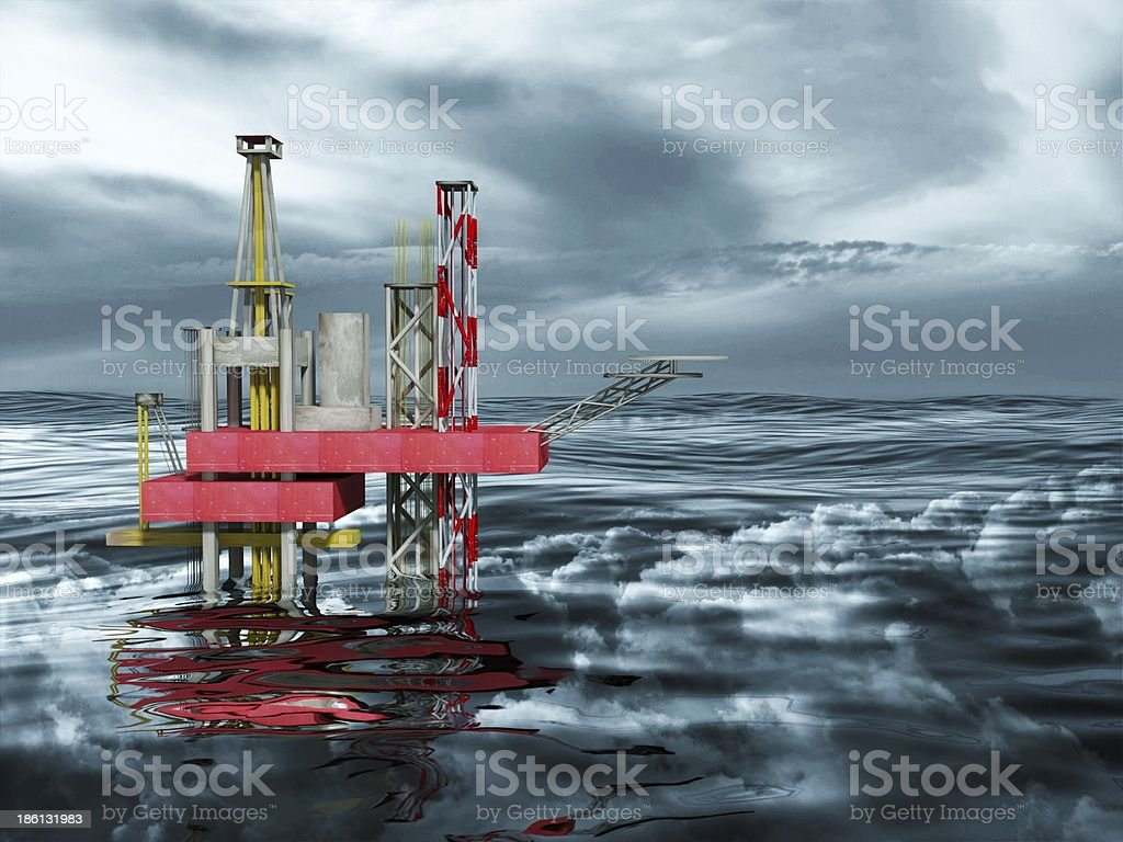 3d Oil Rig Drilling Platform, Ocean and Dark Clouds royalty-free stock photo