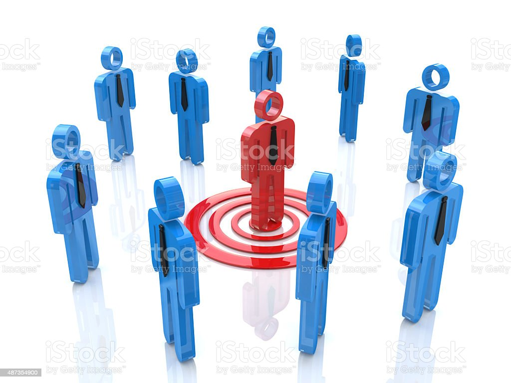 3d one unique red man targeted among the crowd stock photo