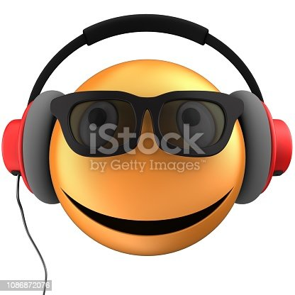 3d illustration of orange emoticon smile with red headphones over white background
