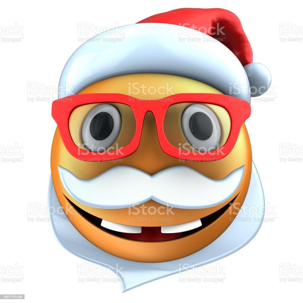 3d orange emoticon smile with christmas hat stock photo