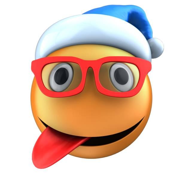 sonrisa de emoticon naranja 3d con sombrero de la navidad - sequence animation fotografías e imágenes de stock
