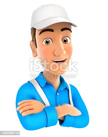 istock 3d painter with arms crossed 545336718