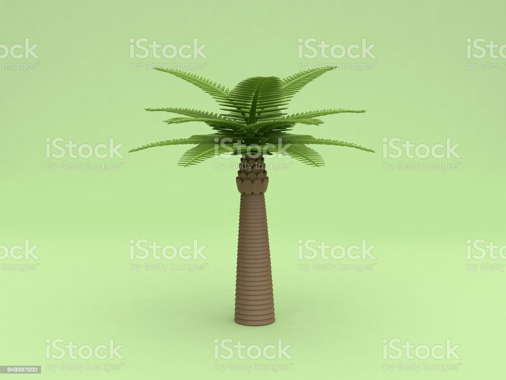 3d Palm Tree Low Poly Cartoon Style Green Background 3d Rendering Stock  Photo - Download Image Now
