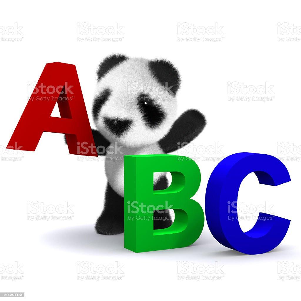140a4cc27cb8 3d Panda bear learns the alphabet - Stock image .