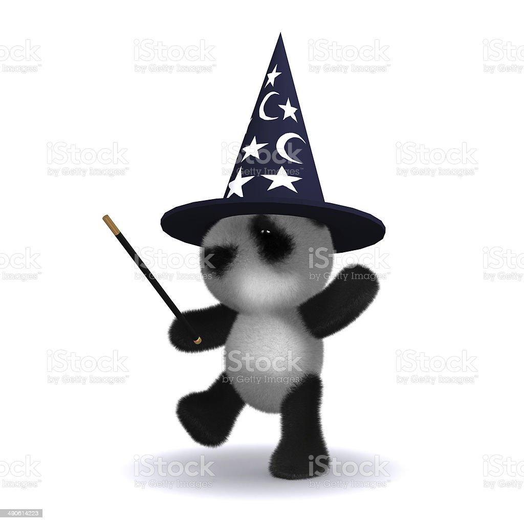 3d Panda wizard stock photo