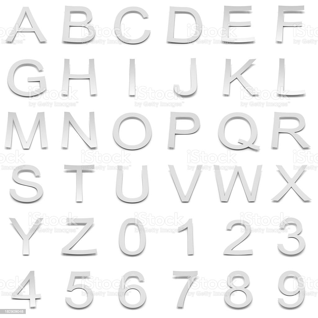 3d paper alphabets and numbers royalty-free stock photo