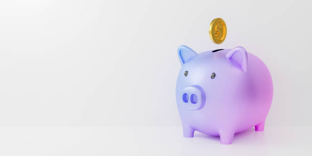 3d pastel piggy bank isolated on white background abstract with gold coins falling. 3d render for investment banking financial. Save money business finance. Purple pig money box icon. minimal design. stock photo