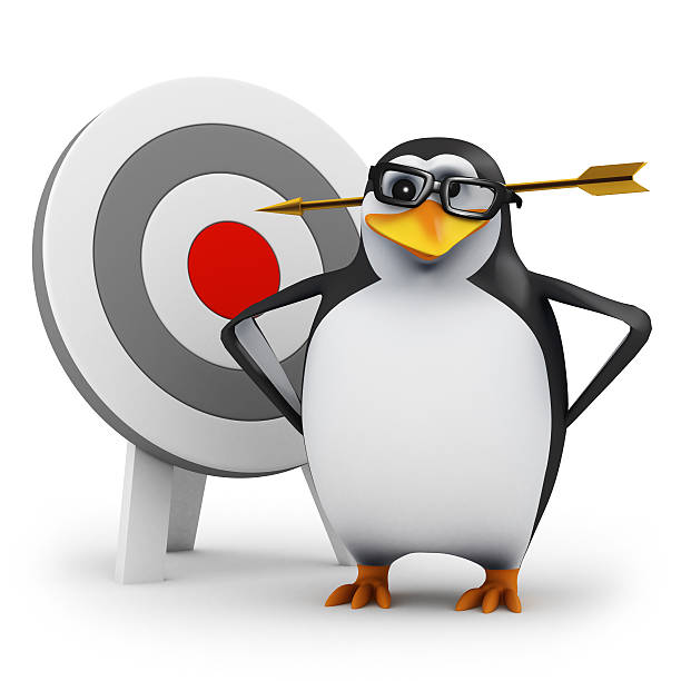3d Penguin gets hit by an arrow stock photo