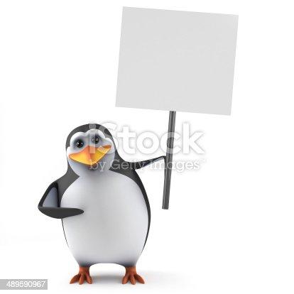istock 3d Penguin placard 489590967