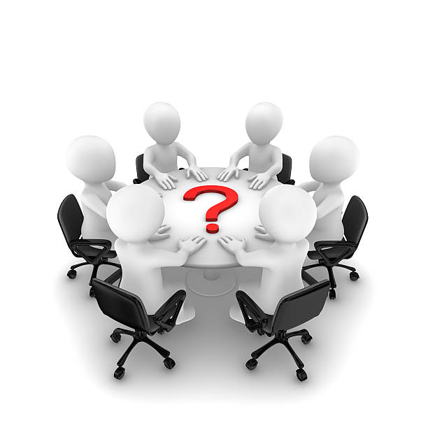 3d people are sitting around a table and question mark stock photo