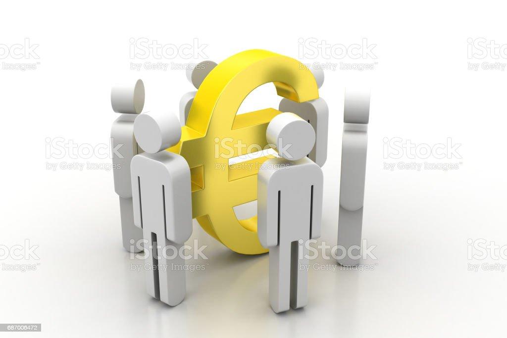 3D Menschen auf Euro-Zeichen Lizenzfreies stock-foto