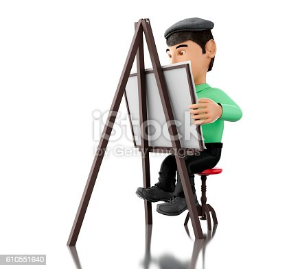 istock 3d people artist with an easel 610551640