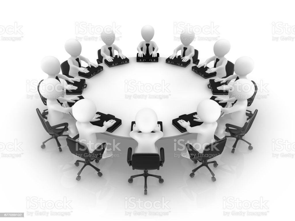 3d people at a round table. Teamwork concept. stock photo