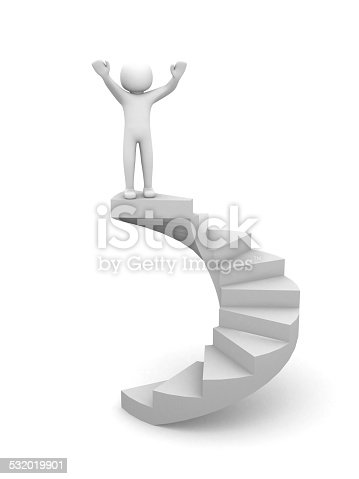 istock 3d people climb the staircase - stair. 3d render illustration 532019901