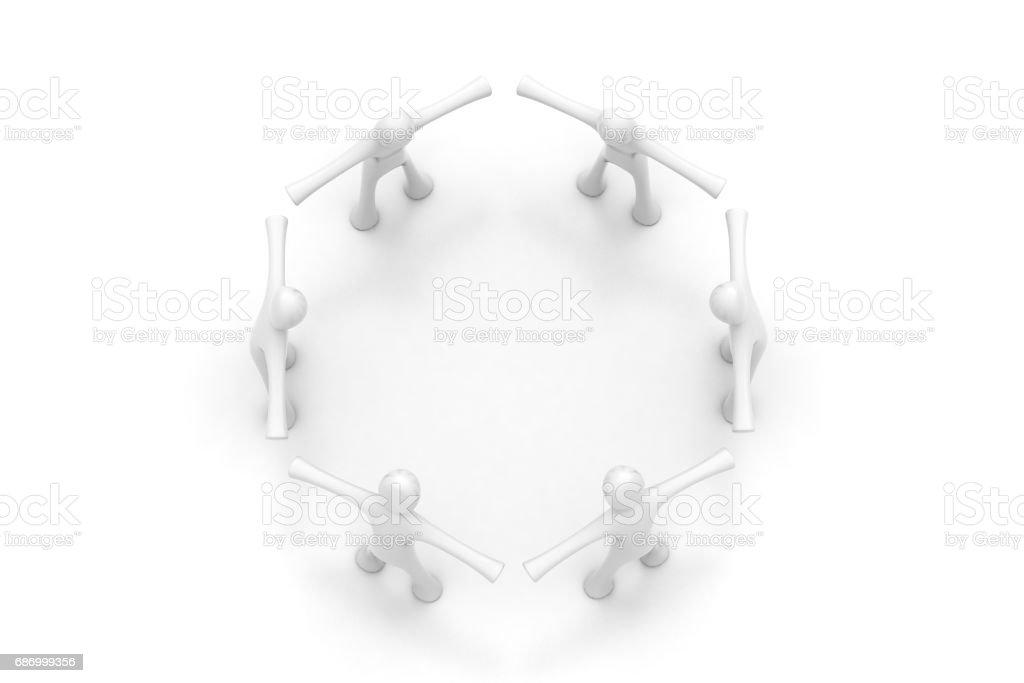 3D Menschen erstellen Sie einen Kreis Lizenzfreies stock-foto