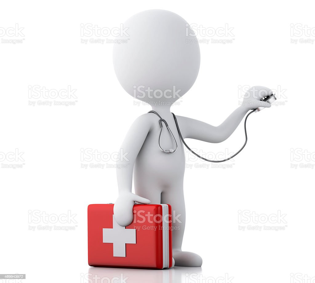 3d people doctor with a stethoscope and first aid kit stock photo