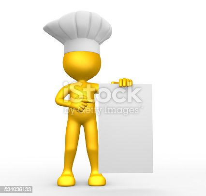 istock 3d people - man, person and blank paper. Chef 534036133