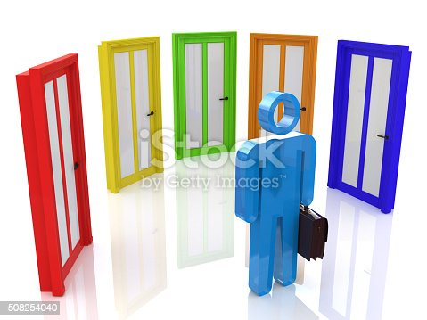 istock 3d people - man, person and doors different. Businessman 508254040
