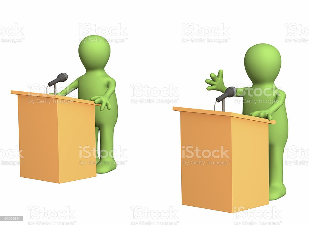 3d people - puppets, participating political debate royalty-free stock photo