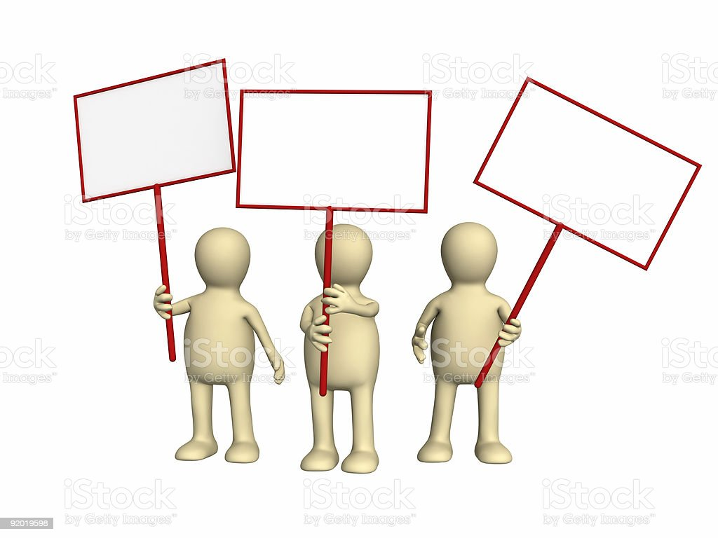 3d people - puppets protesting with posters on demonstration stock photo