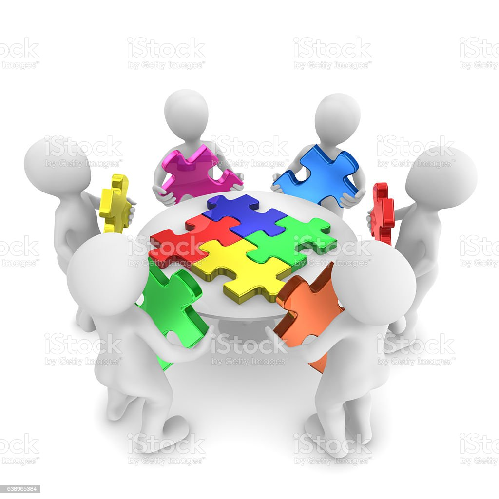3d People With Jigsaw Puzzle Teamwork Concept Stock Vector
