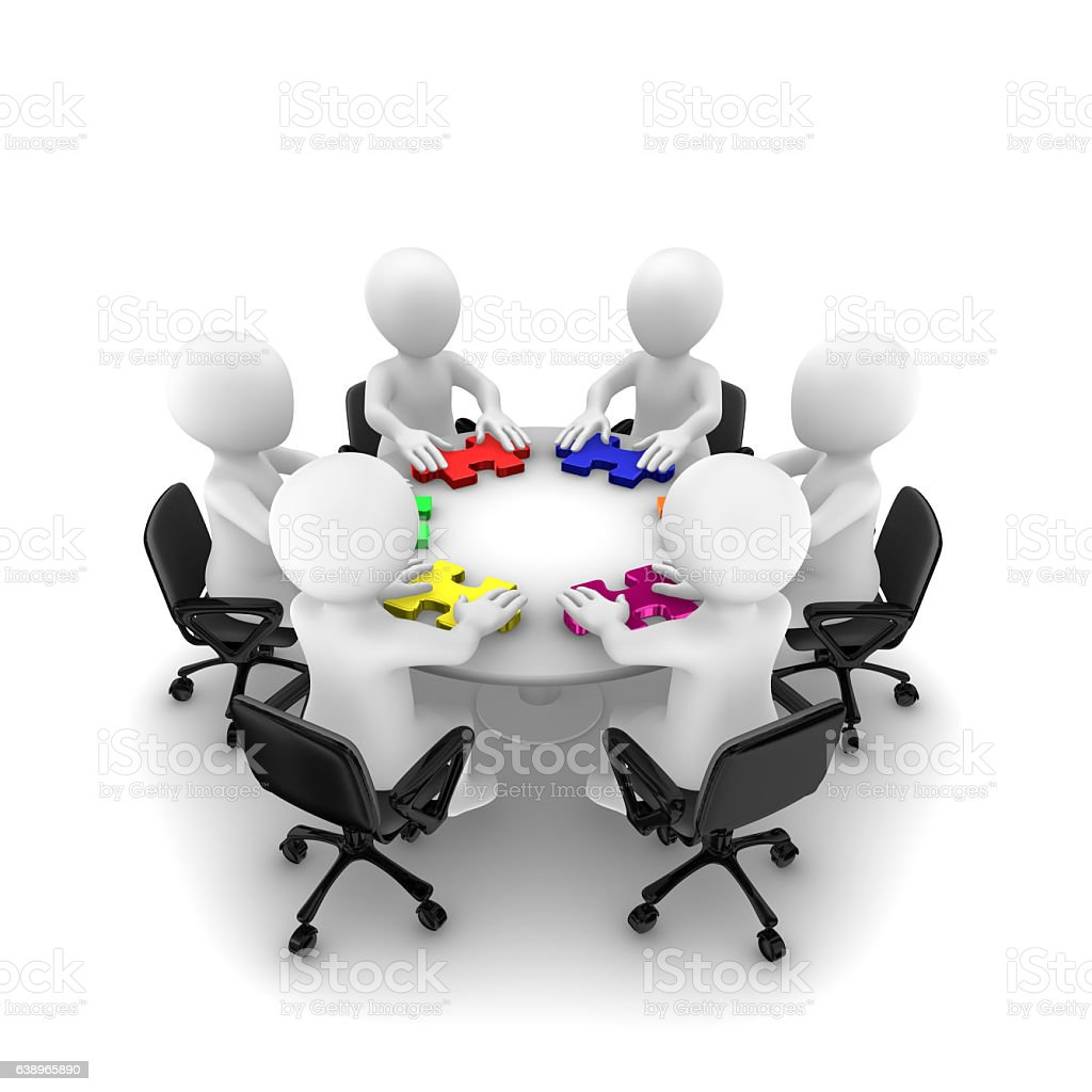 3d people with jigsaw puzzle, teamwork concept stock photo