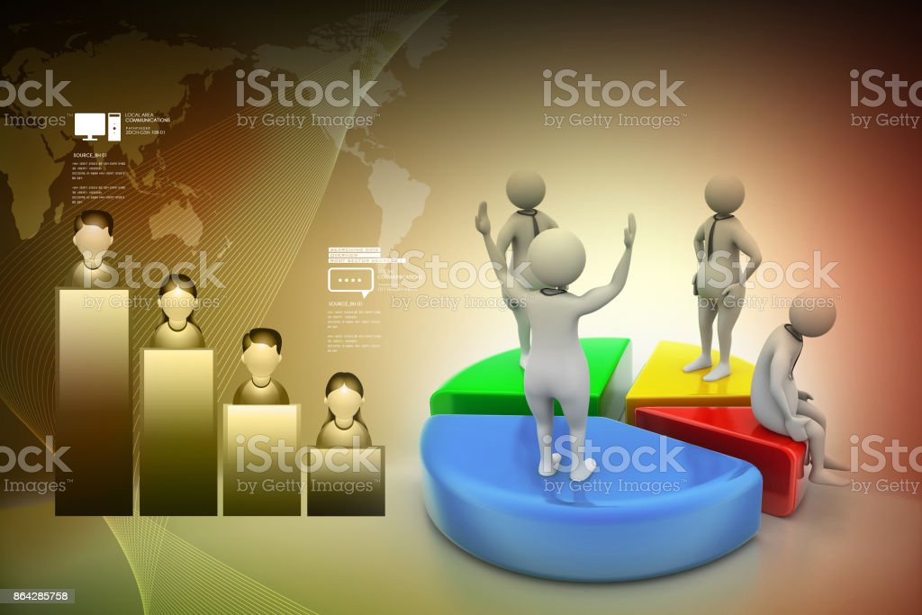 3d people with pie chart,  business competition royalty-free stock photo