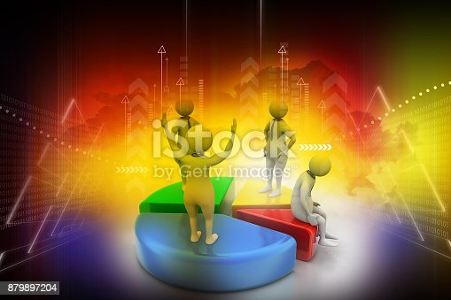 istock 3d people with pie chart,  business competition 879897204