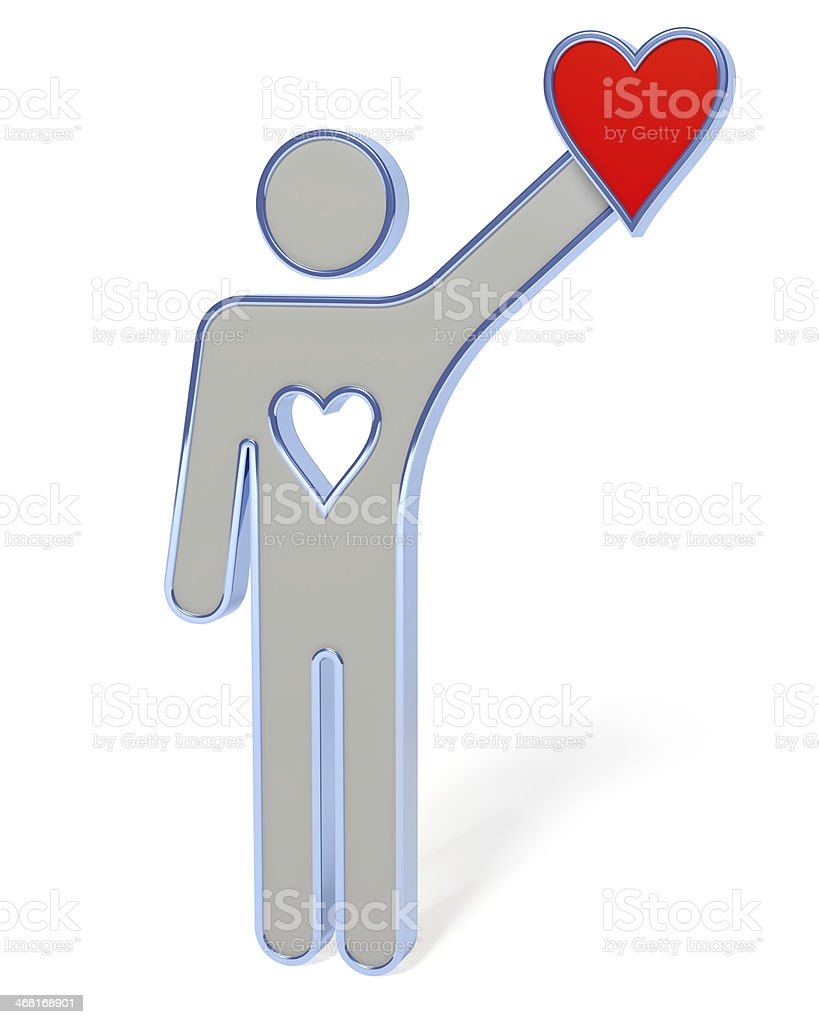 3d people with red heart in hand royalty-free stock photo