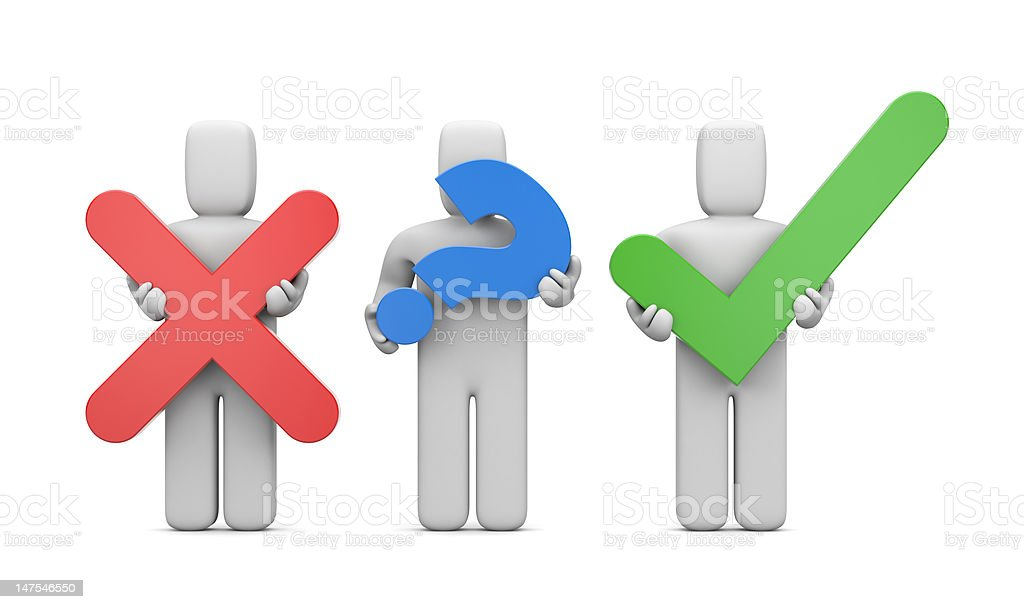 3d people with symbols. Accept or abort royalty-free stock photo