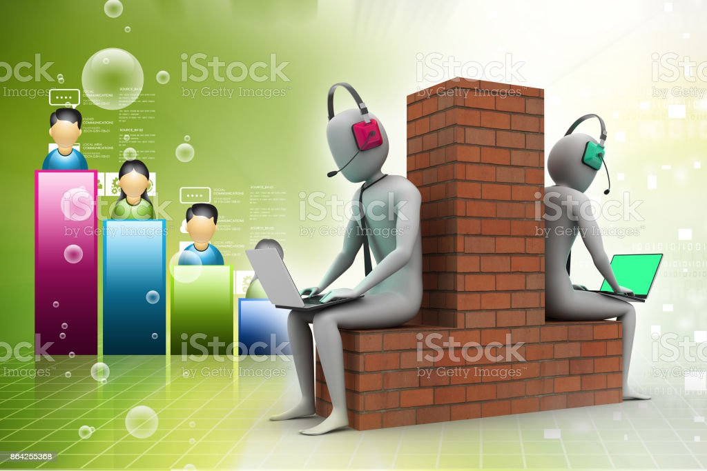 3d people working in laptop royalty-free stock photo