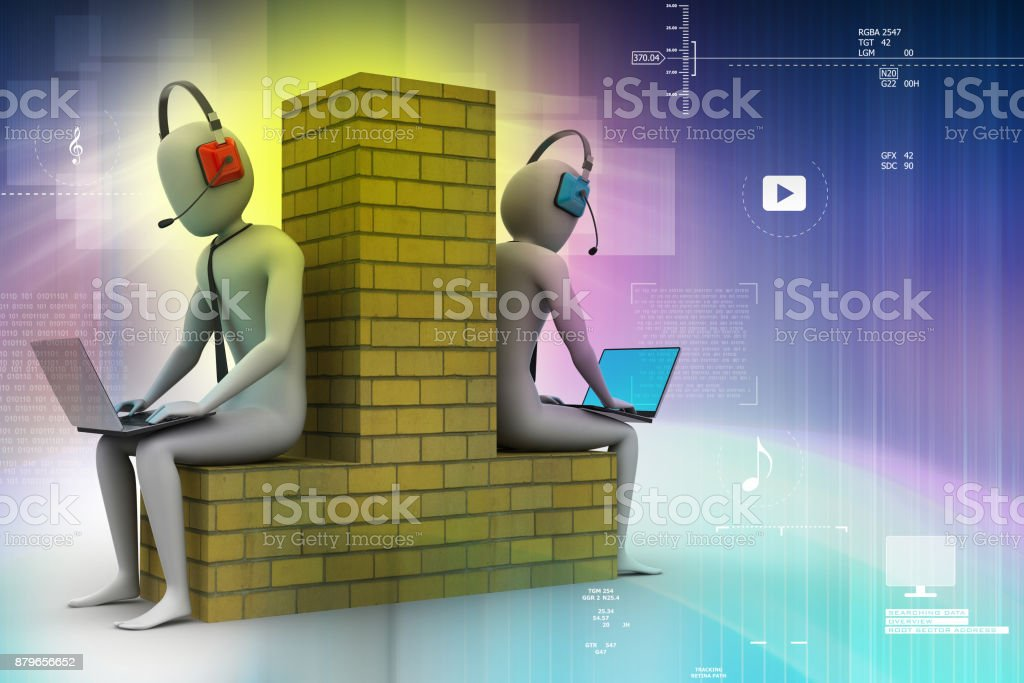 3d people working in laptop stock photo