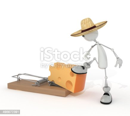 495695633 istock photo 3d person and mousetrap. 495672391