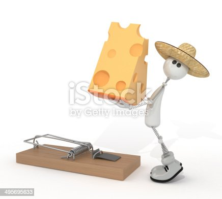 istock 3d person and mousetrap. 495695633