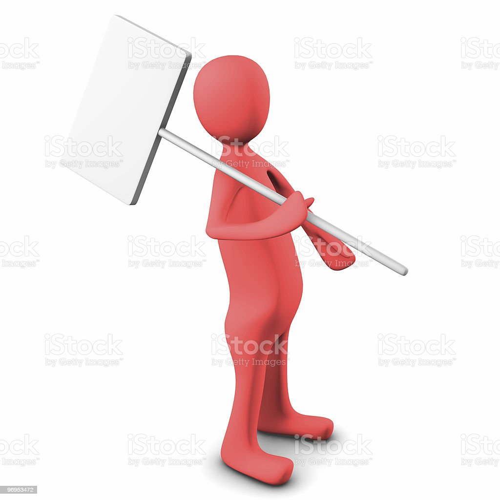 3d person, carry a blank board royalty-free stock photo